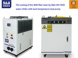 The cooling of the 3KW fiber laser by S&A CW-7300 water chiller with dual temperature dual pump