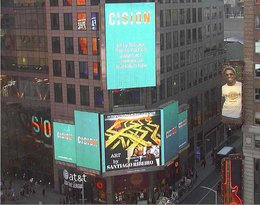Art by Santiago Ribeiro at Thomson Reuters Sign and Nasdaq OMX Group at Times Square, New York city