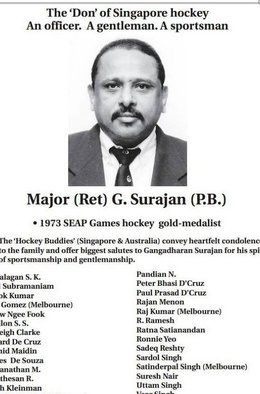 Singapore Hockey  Legend, G Suranjan passes on