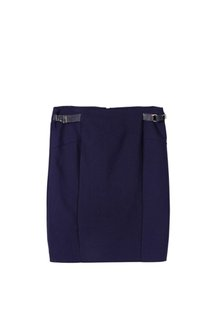 New Look Zip Ladies' Petite Polyester/rayon Leather Look Mini Skirt In Solid Blue