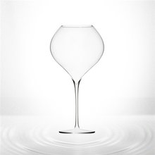 mouth blown red wine glass