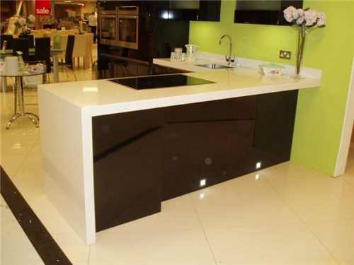 Manufactured Stone Countertops : Artificial white quartz kitchen manufactured