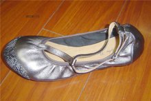 Dress Lady's Flat Leather Ballerina With Foldable Outsole And Leather Insole