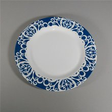 Blue And White Color Tableware Round Melamine Shallow Dinner Plate