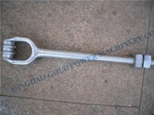 Power Line Fitting Hot Dip Galvanized Forged Triple Eye Anchor Rod Pole Line Fitting Anchor Rod