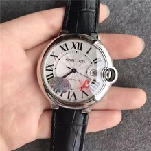 Men's Stainless Steel Leather Watch