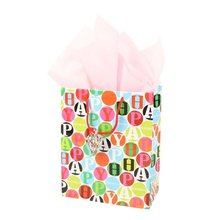 Birthday Gift Bags Flower Paper Gift Bag With 210gsm White Cardboard