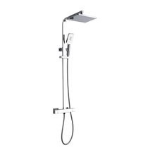 XDL Square Cool Surface Thermostatic Shower Column Adjustable AIR-IN Chrome Plating 8018AB