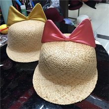Unique Manufacturers Women Raffia Straw Hat with B Logo Bowknot for Women