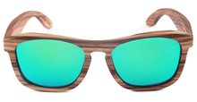 2017 Green REVO Mirror Wooden Sunglasses Sping Hinge