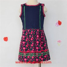 Sleeveless Flower Printed Dress Cotton Fancy Dress With Ribbons For Girls