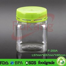 200ml PET Food Grade Square Jar Plastic Bottle And Container Packing Child Candy With PP Tamper