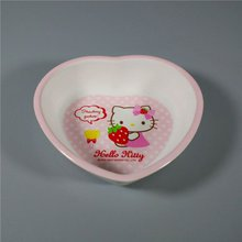 HELLO KITTY Cute Heart Shape Funny Melamine Kids Soup Salad Bowl