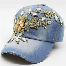 Hot Sale Popular with Diamond Cotton Cowboy Baseball Hats with Metal Flower for Women for Wholesale