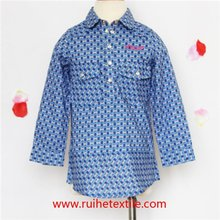 Fashion Cotton Printed Button Up Shirt With Embroidery For Girls