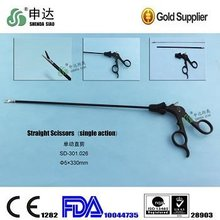 Medical Laparoscopy Straight Scissors Double Single Action 5x330mm Removable